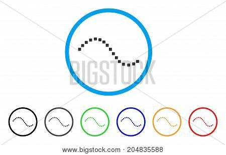 Dotted Function Line rounded icon. Style is a flat dotted function line grey symbol inside light blue circle with black, gray, green, blue, red, orange versions.