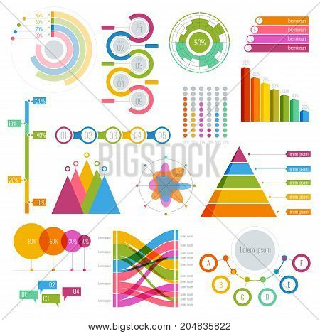 Vector Big set of infographics elements Graphics colourful for display white poster Round, triangular, rising, falling and with percentages diagrams showing business progress and regression.
