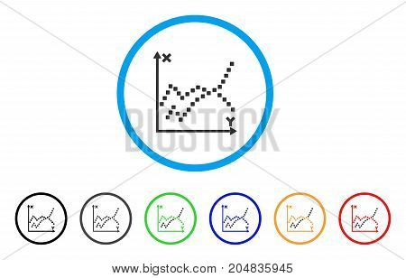 Functions Plot rounded icon. Style is a flat functions plot grey symbol inside light blue circle with black, gray, green, blue, red, orange variants. Vector designed for web and software interfaces.