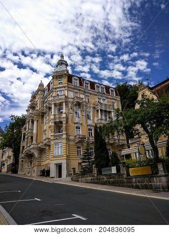 Beautiful buildings on Russian street on blue summer sky background. Marianske Lazne (Marienbad) Czech Republic
