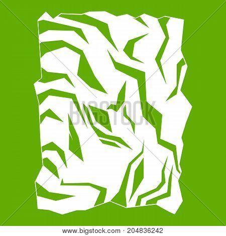 Crumpled paper icon white isolated on green background. Vector illustration