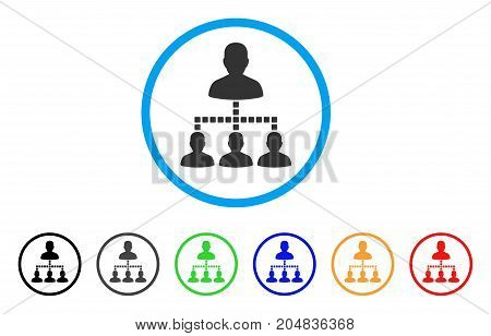 People Hierarchy rounded icon. Style is a flat people hierarchy gray symbol inside light blue circle with black, gray, green, blue, red, orange versions.