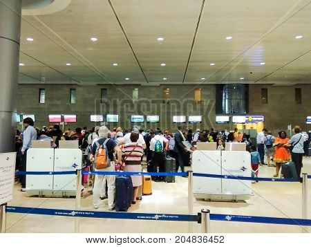 TEL AVIV ISRAEL - JULY 11 2017: The departure hall of the Ben Gurion international airport. Check in zone