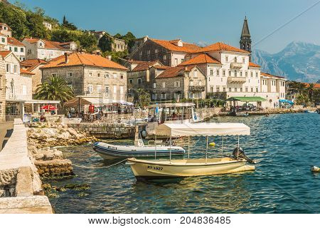PERAST, MONTENEGRO - AUGUST 24, 2017: View of small old town Perast, Montenegro. Perast is one of picturesque towns in Kotor Bay.