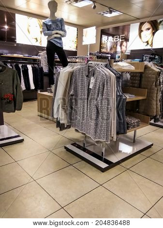 DUSSELDORF GERMANY - AUGUST 17 2017: Interior of small fashion clothing store at Nord steet at northen part of Dusseldorf