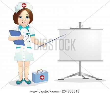 Redhead nurse points to flip chart.Nurse on presentation. Nurse with clipboard giving medical presentation.illustration