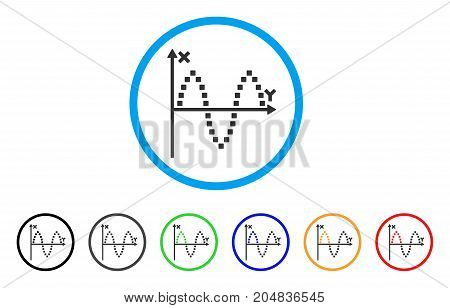 Sinusoid Plot rounded icon. Style is a flat sinusoid plot gray symbol inside light blue circle with black, gray, green, blue, red, orange versions. Vector designed for web and software interfaces.