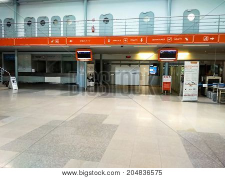 Karlovy Vary Czech Republic - July 30 2017: Karlovy Vary new airport interior. Departure hal. Check in zone