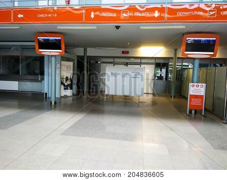 Karlovy Vary Czech Republic - July 30 2017. Karlovy Vary new airport interior. Departure hal. Check in zone