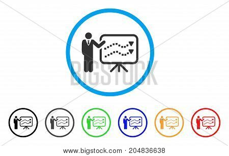 Trends Lecture rounded icon. Style is a flat trends lecture grey symbol inside light blue circle with black, gray, green, blue, red, orange color versions.