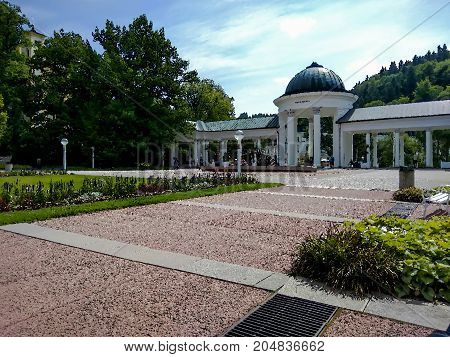 Marianske Lazne (Marienbad) Czech Republic - July 20 2017: The colonnade with mineral water sources