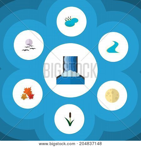 Flat Icon Bio Set Of Cattail, Cascade, Canadian And Other Vector Objects