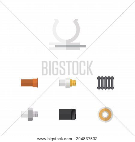 Flat Icon Plumbing Set Of Heater, Roll, Connector And Other Vector Objects