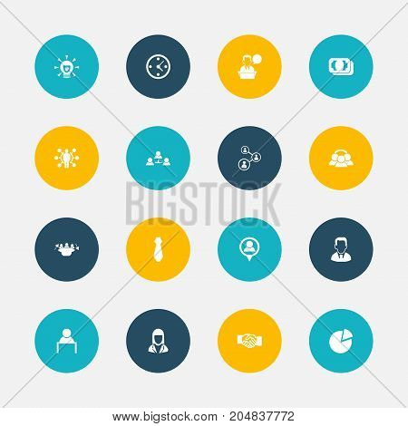 Set Of 16 Editable Job Icons. Includes Symbols Such As Clock, Bulb, Location And More
