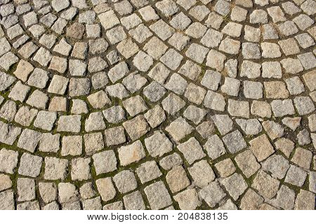 Mosaic gray pavers of small stones, texture