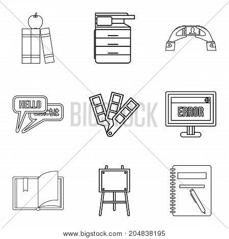 Journal icons set. Outline set of 9 journal vector icons for web isolated on white background