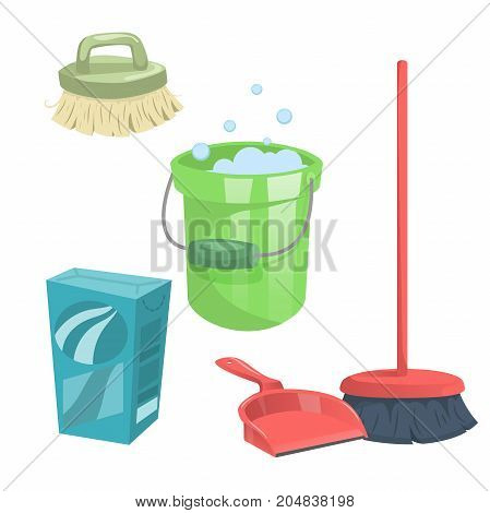 Cartoon trendy cleaning service icons set. Modern plastic broom dust pan brush bucket detergent box.
