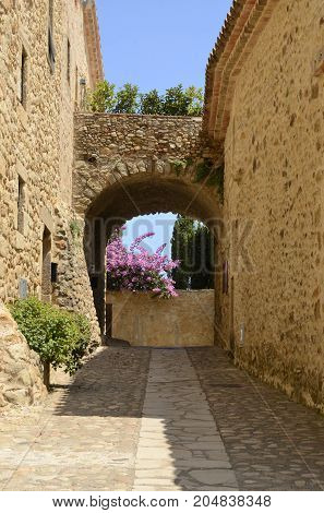 Arch in stone alley in the medieval village of Pals located in the middle of the Emporda region of Girona Catalonia Spain.