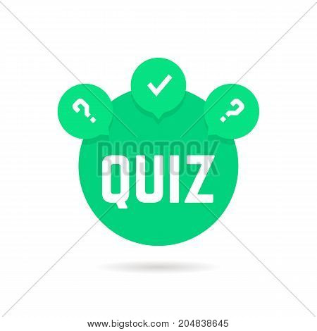 green quiz icon with speech bubble. concept of web template, checkmark, creative tv show, quizz, competition. flat style trend modern logotype graphic design vector illustration on white background