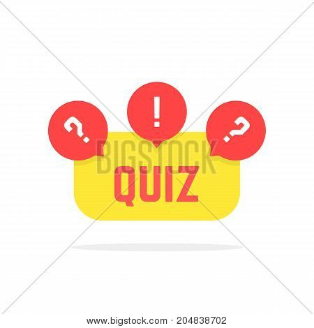 red and yellow quiz button. concept of creative tv show, quizz template, competition, matters, issue, entertainment. flat style trend modern quiz logo design vector illustration on white background
