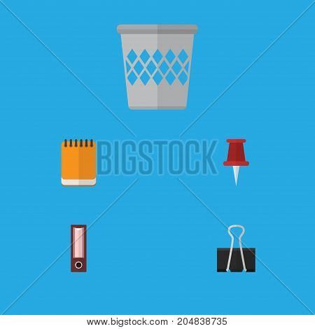 Flat Icon Tool Set Of Paper Clip, Dossier, Notepaper And Other Vector Objects