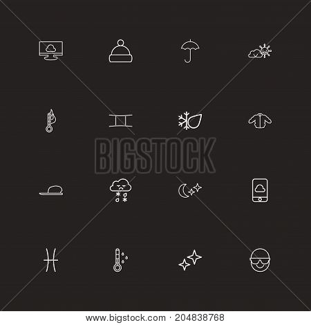 Set Of 16 Editable Weather Outline Icons. Includes Symbols Such As Temperature, Rain, Sunglasses And More
