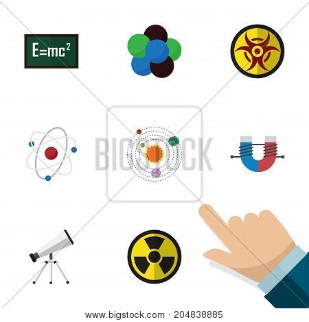 Flat Icon Study Set Of Danger, Theory Of Relativity, Attractive Force And Other Vector Objects