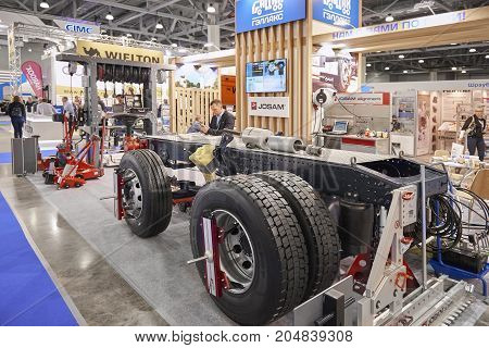 MOSCOW, SEP, 5, 2017: View on different tools devices equipment truck chassis maintenance at Commercial Transport Exhibition ComTrans 2017 Service and maintenance equipment for truck maintenance MOT