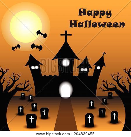 Vector Happy Halloween Night Illustration Of A Silhouette Curved Castle Under The Full Moon With Bats Among Graveyard With Many Tombstones. Two Dead Trees Are Foreground.