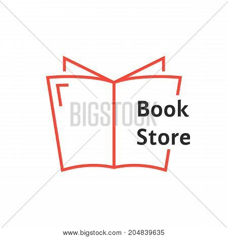 red thin line book store logo. concept of tutorials, bible, paperback, textbook, ebook, encyclopedia, notebook. flat linear style trend modern brand design vector illustration on white background