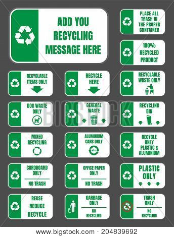 recycle labels for recycling container and bin