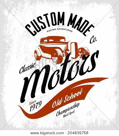 Vintage custom hot rod motors vector logo concept isolated on white background. Premium quality old sport car logotype t-shirt emblem illustration. Street wear superior retro badge tee print design.