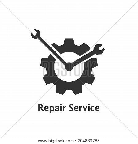 repair service with gear like clock. concept of visual identity, engineering, garage spare, automobile motor. flat style trend modern brand graphic design vector illustration on white background