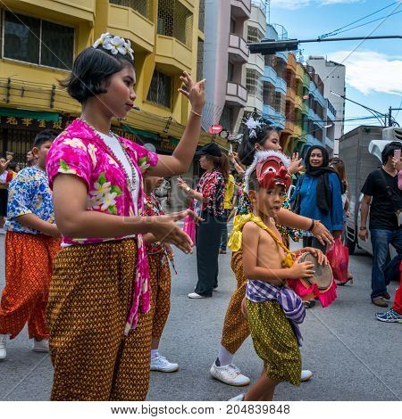 Hat Yai Songkhla Thailand. April 11 2017 : April 11 2017: Midnight Songkran Festival in Hat Yai Songkhla Thailand Unidentified peoples will wear bright clothes in the Songkran Festival parade.
