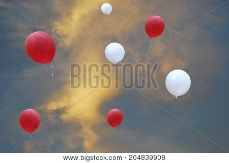 Red and white balloons against the background of the evening beautiful sky