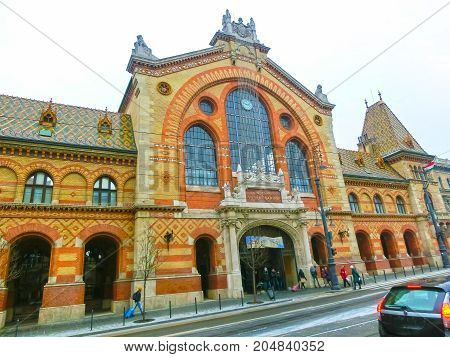 Budapest, Hungary - January 01, 2016: The people going at Central Market Hall in Budapest, Hungary on January 01, 2016