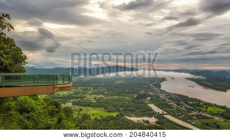 Landmark of Sky walk pha tak sue Nongkhai City Thailand