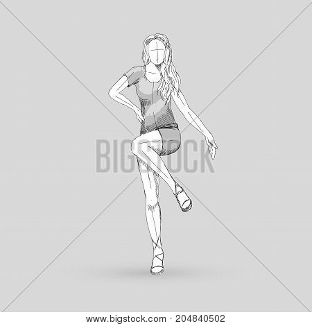 Modern Style Dancer Posing Sketch of a Go Go Dancer on a Gray