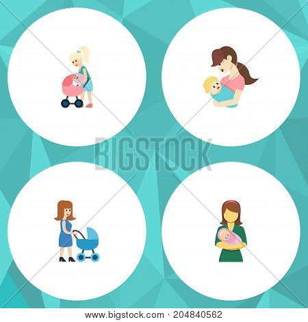 Flat Icon Parent Set Of Child, Perambulator, Woman And Other Vector Objects