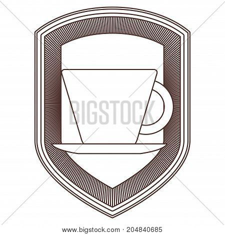 logo shield decorative of cup of coffee with handle on dish striped brown silhouette on white background vector illustration