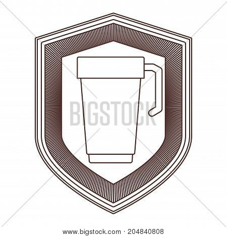 logo badge decorative of glass disposable for hot drinks with handle striped brown silhouette on white background vector illustration