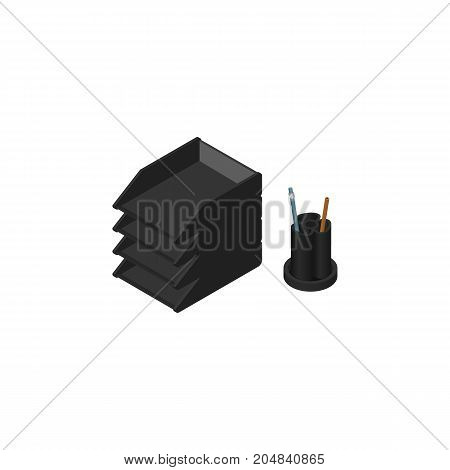 Desk File Rack Vector Element Can Be Used For File, Rack, Tray Design Concept.  Isolated Paper Tray Isometric.