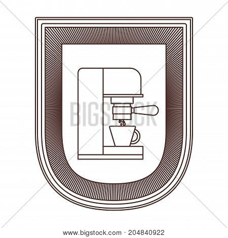 logo badge decorative of coffee espresso machine side view striped brown silhouette on white background vector illustration