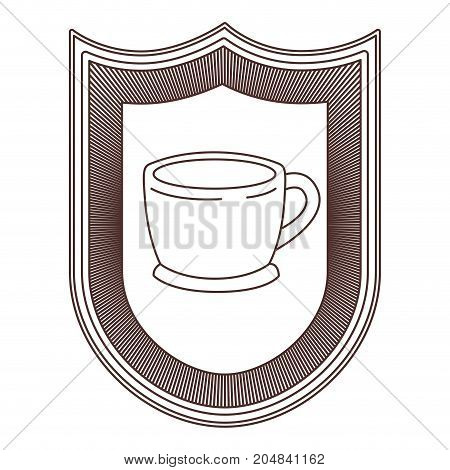 logo badge decorative of cup of coffee with handle on dish striped brown silhouette on white background vector illustration