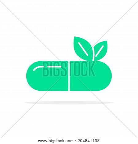 green herbal medication logo. concept of visual identity, medicate, sprout, heal, aid, seed, dietary science, prescription. flat style trend modern brand design vector illustration on white background
