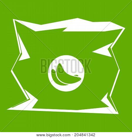 Crumpled bag of chips icon white isolated on green background. Vector illustration