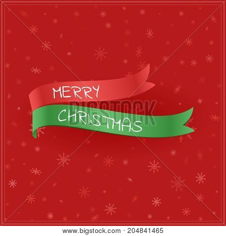 Green and red flags with text. Merry Christmas greeting card with snowflakes. Vector illustration.