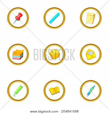 Stationery symbol icons set. Cartoon style set of 9 stationery symbol vector icons for web design