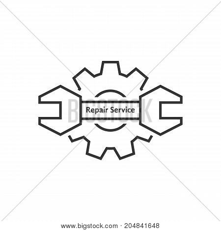 repair service with thin line wrench and gear. concept of adjustable kit, seo, fix, restore, assemble. flat linear style trend modern brand design template vector illustration on white background