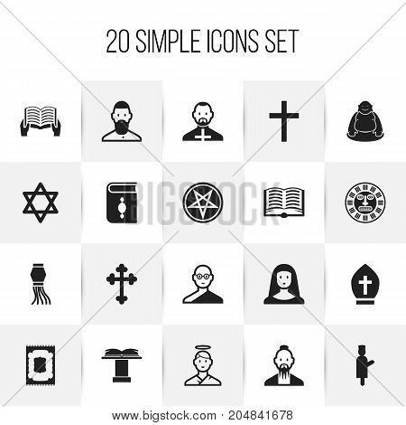 Set Of 20 Editable Dyne Icons. Includes Symbols Such As Pope Headwear, Hexagram, Pope And More